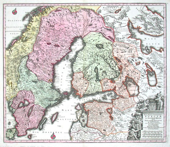 Nova mappa geographica Sueciae ac Gothiae Regna ut et Finlandiae Ducatum ac Lapponiam, cum provinciis minoribus - Stará mapa