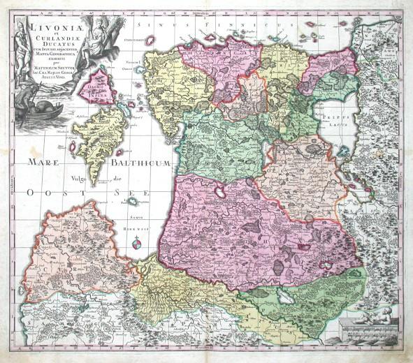 Livoniae et Curlandiae Ducatus - Antique map