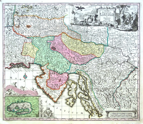 Slovenia, Croatia - Exactissima Ducatus Carniolae Vinidorum Marchiä et Histriae delineatio - Antique map