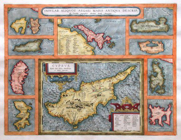 Zypern und Ägäische Inseln - Insular. aliquot Aegaei maris antiqua descrip. - Alte Landkarte