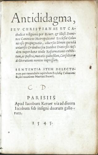 Antididagma, seu Christianae et catholicae religionis .