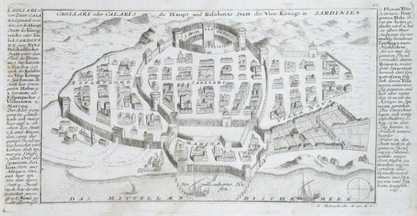 Cagliari oder Calaris die Haupt und Residenz Statt des Vice Königs in Sardinien - Stará mapa