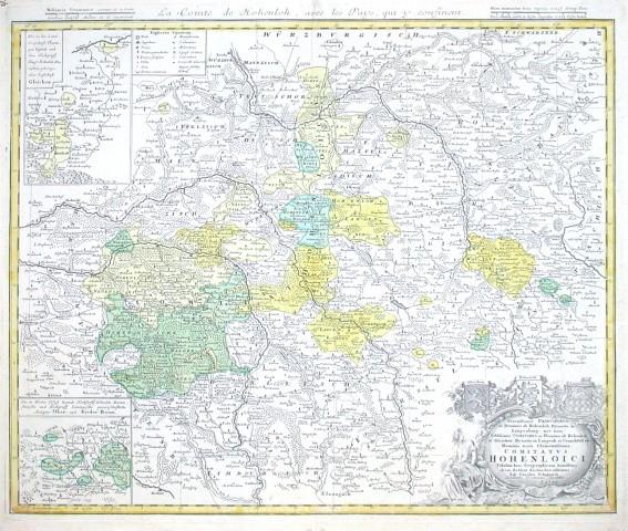 Comitatus Hohenloici Tabulam hanc Geographicam - Alte Landkarte