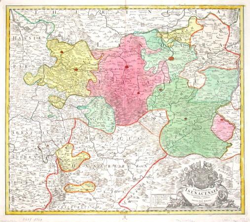 Principatus Isenacensis cum adjacentibus vicinorum Statuum Ditionibus exhibitus - Alte Landkarte