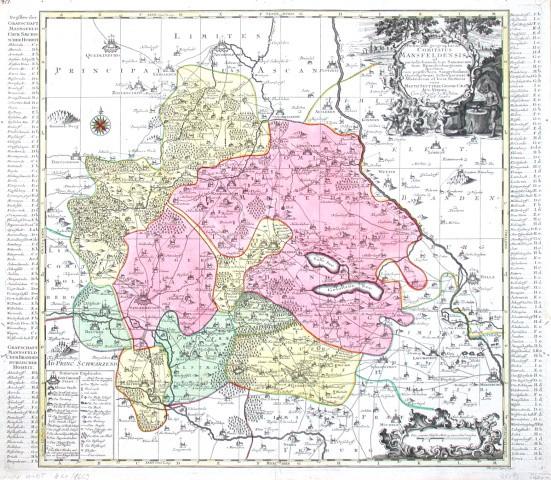 Delineatio geographica Comitatus Mansfeldensis ad jurisdictionem tum Saxonicam tum Brandenburgicam spectans, cum praefectura - Alte Landkarte