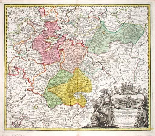 Tabula Geographica in qua  Principatus Gotha, Coburg Et Altenburg cum omnibus eorundem Praefecturis tam in Thuringia quam - Alte Landkarte