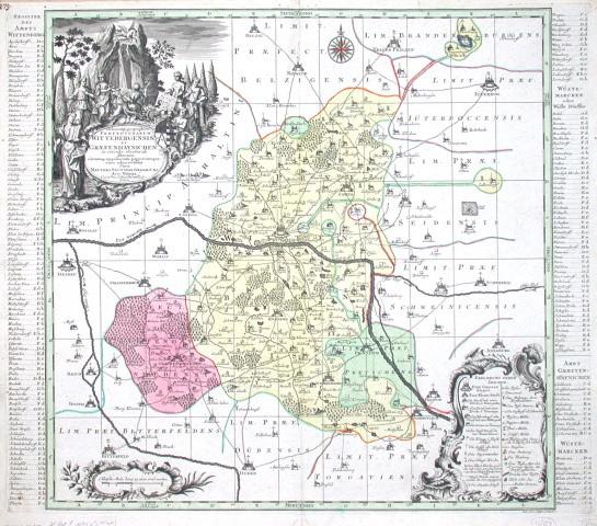 Delineatio geographica Praefecturarum Wittebergenis, Et Graefenhaynichen, in circulo electorali sitarum - Alte Landkarte