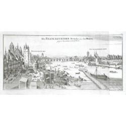 Die Franckfurther Brücke über den Mayn gegen Oosten anzusehen