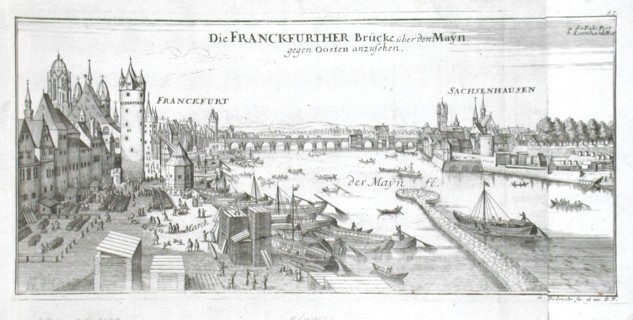 Die Franckfurther Brücke über den Mayn gegen Oosten anzusehen - Alte Landkarte