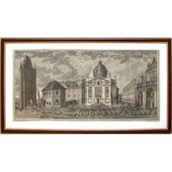Prospect des Platzes Beij den Kreütz Herren an der Brücken in der Aldtstadt