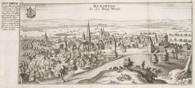 Bensheim In der Berg Strass - Alte Landkarte