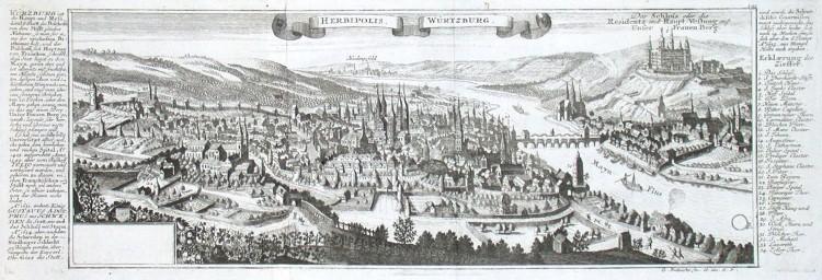 Herbipolis. Würtzburg - Stará mapa