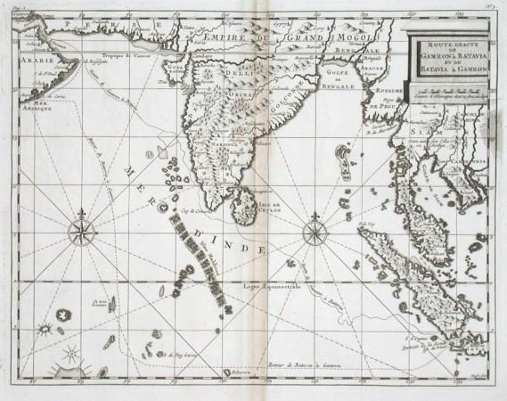 Route exacte de Gamron a Batavia et de Batavia a Gamron - Antique map