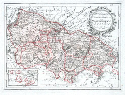 Der Mittelmark oder des Südlichen Theiles von Brandenburg Teltowscher Beeskowscher und Storkowscher Kreis. Nro. 341. - Alte Landkarte