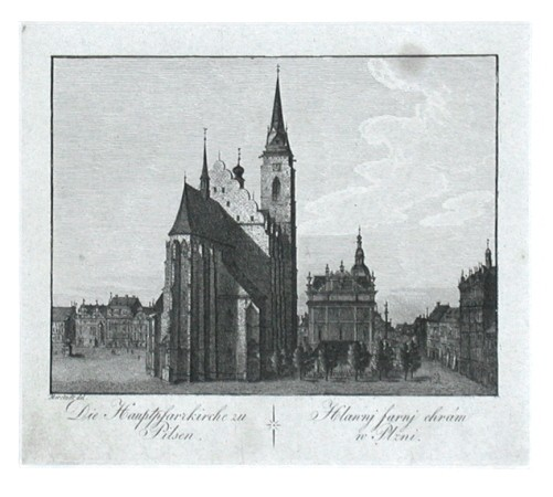 Die Hauptpfarkirche zu Pilsen. Hlavnj farnj chrám w Plzni - Alte Landkarte